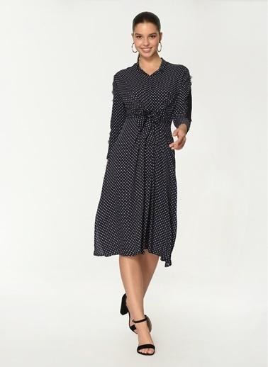 Loves You Kolu Dantel Detaylı Manşetli Viskon Puantiye Elbise Lacivert